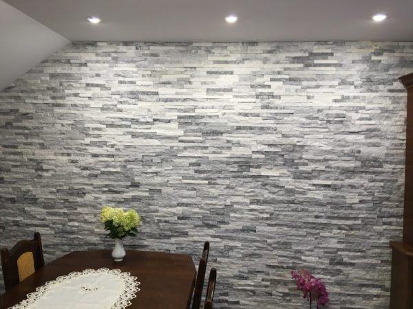 panel dekoracyjny biało szary kwarcyt świecący