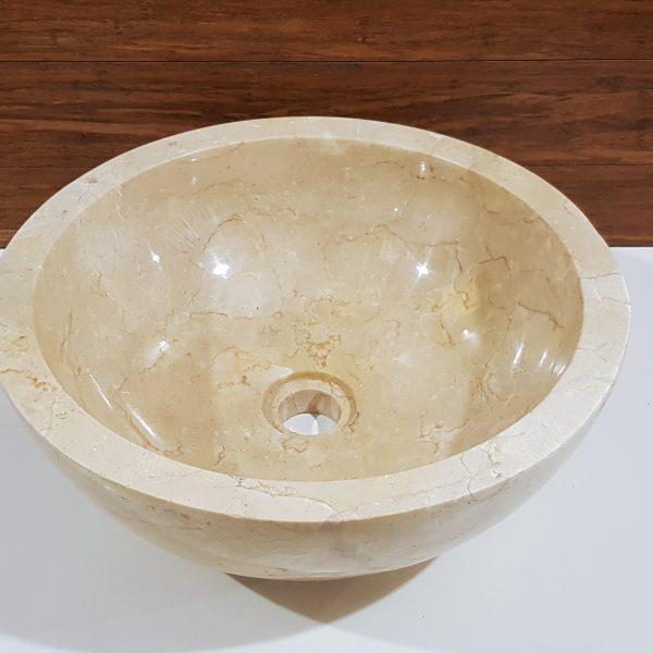 okrągła umywalka marmurowa na blat do łazienki
