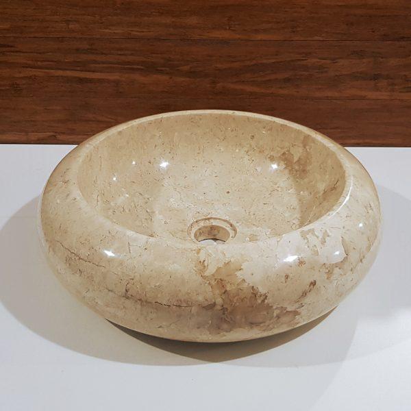 okrągła umywalka kamienna gładka