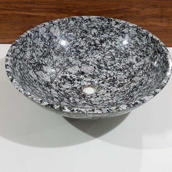 umywalka z granitu jasnoszarego nablatowa okrągła