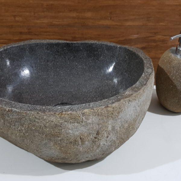 brązowa umywalka z kamienia