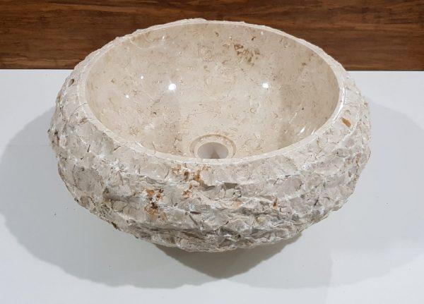 marmurowa umywalka łupana średnica 40 cm